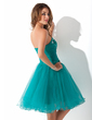 A-Line/Princess Sweetheart Knee-Length Tulle Homecoming Dress With Ruffle Beading Appliques Lace Flower(s) (022010168)