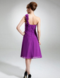 A-Line/Princess One-Shoulder Knee-Length Chiffon Mother of the Bride Dress With Ruffle Flower(s) (008006270)