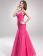 Trumpet/Mermaid One-Shoulder Floor-Length Tulle Prom Dress With Ruffle Beading (018016886)