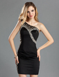 Sheath/Column One-Shoulder Short/Mini Satin Cocktail Dress With Beading (016019156)