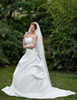 Ball-Gown Sweetheart Chapel Train Satin Wedding Dress With Ruffle Beading Flower(s) (002000657)