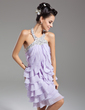 Sheath/Column Halter Knee-Length Chiffon Homecoming Dress With Beading Cascading Ruffles (022015085)