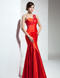 Trumpet/Mermaid One-Shoulder Floor-Length Charmeuse Evening Dress With Ruffle Beading Appliques Lace (017039554)