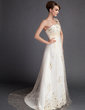 A-Line/Princess One-Shoulder Court Train Tulle Wedding Dress With Ruffle Beading (002015906)
