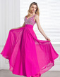 A-Line/Princess V-neck Floor-Length Chiffon Prom Dress With Ruffle Beading Sequins (018013097)