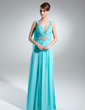 A-Line/Princess Scoop Neck Watteau Train Chiffon Mother of the Bride Dress With Ruffle Beading (008015541)