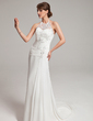 A-Line/Princess Halter Sweep Train Chiffon Tulle Wedding Dress With Ruffle Lace Beading (002011453)