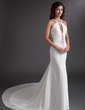 Trumpet/Mermaid Scoop Neck Chapel Train Chiffon Prom Dress With Ruffle Beading Sequins (018016766)