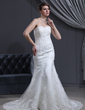 Trumpet/Mermaid Sweetheart Chapel Train Satin Wedding Dress With Beading Appliques Lace (002000167)