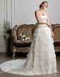Ball-Gown Strapless Chapel Train Tulle Wedding Dress With Ruffle Lace Beading Sequins (002013805)