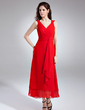 A-Line/Princess V-neck Ankle-Length Chiffon Bridesmaid Dress With Cascading Ruffles (007004232)