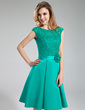 A-Line/Princess Scoop Neck Knee-Length Satin Lace Bridesmaid Dress With Beading Flower(s) (007019644)