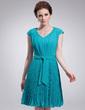 Linia A/Księżniczka Dekolt w Serek Do Kolan Chiffon Sukienka na Zjazd Absolwentów (022010337)