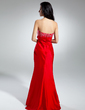 Trumpet/Mermaid Strapless Sweep Train Taffeta Prom Dress With Embroidered Ruffle Beading Flower(s) (018014945)