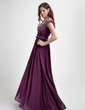 A-Line/Princess Off-the-Shoulder Floor-Length Chiffon Evening Dress With Ruffle Beading (020015777)