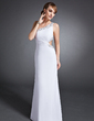 Sheath/Column One-Shoulder Floor-Length Chiffon Evening Dress With Ruffle Beading Sequins (017015106)