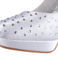 Women's Silk Like Satin Cone Heel Closed Toe Platform Pumps With Rhinestone (047026745)