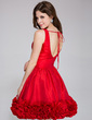 A-Line/Princess V-neck Short/Mini Taffeta Homecoming Dress With Ruffle Flower(s) (022027153)