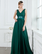 A-Line/Princess V-neck Floor-Length Chiffon Bridesmaid Dress With Ruffle Beading (007000914)