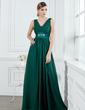 A-linjainen/Prinsessa V-kaula-aukko Lattiaa hipova pituus Sifonki Morsiusneitojen mekko jossa Rypytys Helmikuvoinnit (007000914)