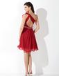 Çan/Prenses Tek-Omuzlu Kısa/Mini Chiffon Mezunlar Gecesi Elbisesi (022004445)