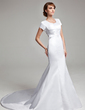 Trumpet/Mermaid V-neck Chapel Train Satin Wedding Dress With Ruffle Appliques Lace (002001670)