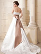A-Line/Princess Strapless Court Train Satin Wedding Dress With Embroidered Sash (002012048)