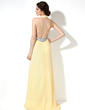 A-Line/Princess Halter Sweep Train Chiffon Prom Dress With Ruffle Beading Split Front (018005350)