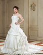 Ball-Gown Strapless Chapel Train Satin Wedding Dress With Beading Appliques Lace Pleated (002000651)