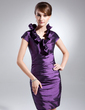 Sheath/Column V-neck Short/Mini Taffeta Cocktail Dress With Cascading Ruffles (016008268)