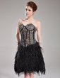 A-Line/Princess Sweetheart Knee-Length Lace Feather Cocktail Dress (016008527)