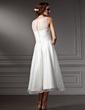 A-Line/Princess Scoop Neck Tea-Length Satin Wedding Dress With Flower(s) (002021079)