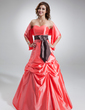 A-Line/Princess Sweetheart Floor-Length Taffeta Bridesmaid Dress With Ruffle Sash Bow(s) (007001010)