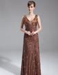 A-Line/Princess V-neck Floor-Length Lace Mother of the Bride Dress With Beading Sequins Split Front (008005968)