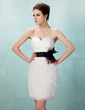Sheath/Column Sweetheart Short/Mini Organza Cocktail Dress With Ruffle Sash Flower(s) (016008406)