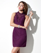 Sheath/Column Scoop Neck Short/Mini Chiffon Cocktail Dress With Lace Beading Bow(s) (016021175)