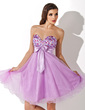 Empire Sweetheart Knee-Length Charmeuse Homecoming Dress With Ruffle Beading Bow(s) (022007287)