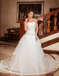 Ball-Gown Strapless Chapel Train Satin Organza Wedding Dress With Cascading Ruffles (002012025)