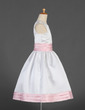 A-Line/Princess Tea-length Flower Girl Dress - Satin Sleeveless Scoop Neck With Sash (010016198)