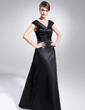 A-Line/Princess V-neck Floor-Length Satin Mother of the Bride Dress With Ruffle (008015035)