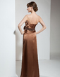 Sheath/Column Strapless Floor-Length Charmeuse Mother of the Bride Dress With Ruffle Beading Flower(s) (008006146)