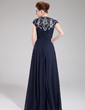 A-Line/Princess Scoop Neck Floor-Length Chiffon Evening Dress With Ruffle Beading Sequins Split Front (017019448)
