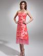 Sheath/Column Strapless Tea-Length Taffeta Prom Dress With Ruffle (018020863)