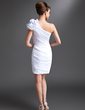 Sheath/Column One-Shoulder Short/Mini Chiffon Mother of the Bride Dress With Ruffle Flower(s) (008016385)