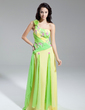 A-Line/Princess One-Shoulder Watteau Train Chiffon Prom Dress With Beading Appliques Lace Cascading Ruffles (018014963)