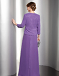 A-Line/Princess V-neck Floor-Length Chiffon Charmeuse Mother of the Bride Dress With Ruffle Beading Sequins (008014536)