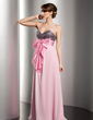 Empire Sweetheart Floor-Length Chiffon Sequined Holiday Dress With Ruffle Sash Bow(s) (020014541)