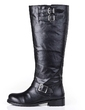 Real Leather Low Heel Knee High Boots With Buckle shoes (088055636)