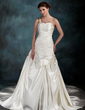 A-Line/Princess One-Shoulder Chapel Train Satin Wedding Dress With Ruffle Beading Appliques Lace (002011712)