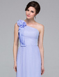 Sheath/Column One-Shoulder Floor-Length Chiffon Holiday Dress With Ruffle Flower(s) (007037184)